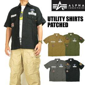 セール ALPHA アルファ メンズ シャツ ユーティリティーシャツ PATCHED 半袖ミリタリーシャツ TS5049
