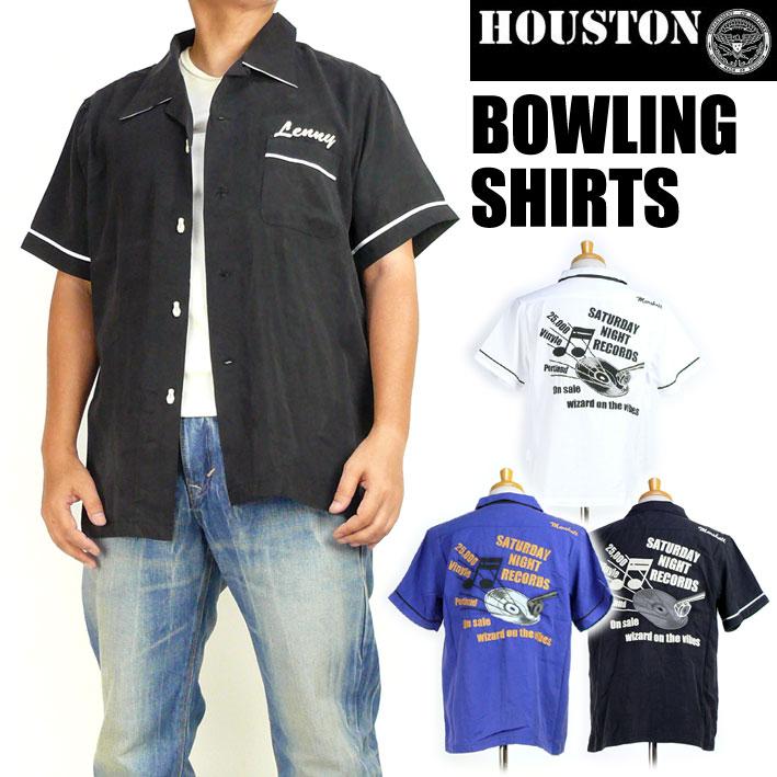 HOUSTON ヒューストン メンズ ボーリングシャツ BOWLING SHIRTS RECORD 半袖シャツ 送料無料 40380
