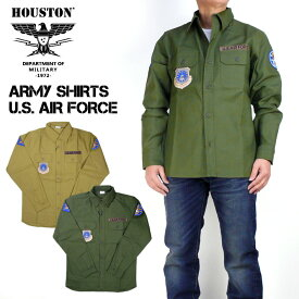 HOUSTON ヒューストン パッチアーミーシャツ USAF PATCH ARMY SHIRTS US AIR FORCE メンズ ミリタリーシャツ 40581