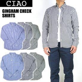ciao チャオ ギンガムチェック ボタンダウンシャツ メンズ 長袖シャツ 日本製 28-902