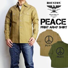 HOUSTON ヒューストン PRINT ARMY SHIRTS PEACE プリントアーミーシャツ ピース メンズ ミリタリーシャツ 40721