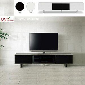 <UV 塗装> 183cm幅 テレビボード<正規ブランド> ローボード テレビ台 UV塗装 光沢 ブラック ホワイト グレーペンガラス採用