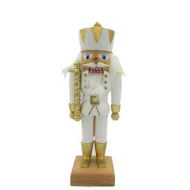 くるみ割り人形 白の王様 28cm/ドイツ ザイフェン エルツ工芸品 インテリア インテリア雑貨 お香 ドイツ伝統 おしゃれ
