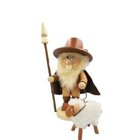 煙出し人形 小人の羊飼い 34cm/ドイツ ザイフェン エルツ工芸品 インテリア インテリア雑貨 お香 ドイツ伝統 おしゃれ