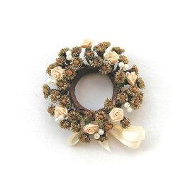 バラとクローブのリース ホワイト/スパイス ゲビンデ リース 装飾 飾り 香り ザルツブルグ 伝統工芸 木の実 ビーズ ドライフラワー インテリア