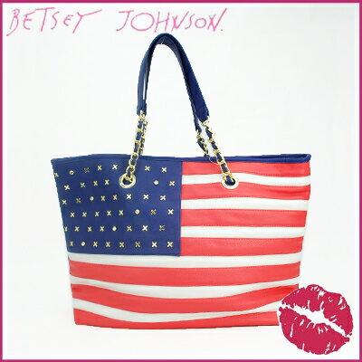 ベッツィ・ジョンソン/Betsey Jonson トートバッグラージ 星条旗モチーフ レザー アメリカーナストライプ(マルチカラー)BG70025 通勤 大学 学生 就職 仕事 卒業式 入学式