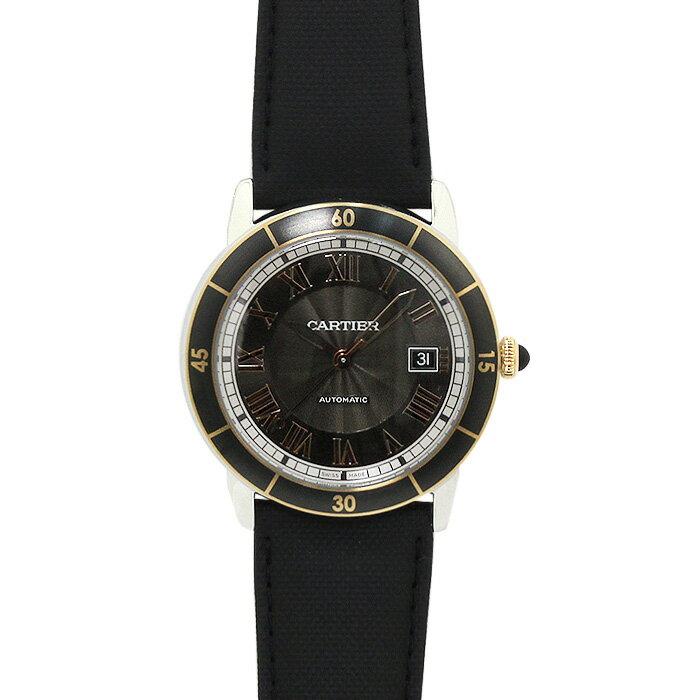 カルティエ Cartier ロンド クロワジエール ドゥ カルティエ メンズ W2RN0005 グレー/ブラックレザー 時計/ウォッチ 送料無料