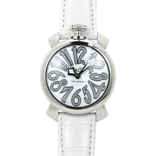 INT-99ガガミラノ 5020.8 ユニセックス ホワイトシェル/ホワイトレザー 時計/ウォッチ