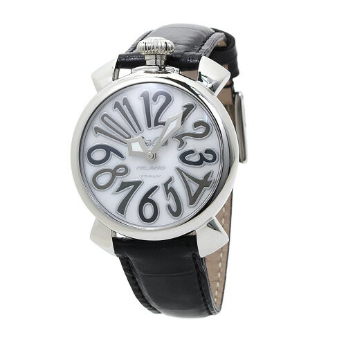 INT-45ガガミラノ 5020.5 40mm ユニセックス ホワイトシェル/ブラックレザー 時計/ウォッチ