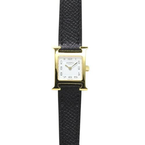 エルメス HERMES Hウォッチ ミニ レディース 037894WW00 (HH1.101.131/UNO) ホワイト/ブラックレザー 時計/ウォッチ