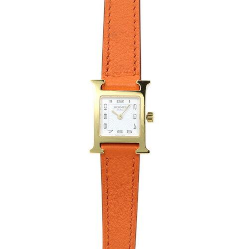 エルメス HERMES Hウォッチ ミニ レディース 037895WW00 (HH1.101.131/WOR) ホワイト/オレンジレザー 時計/ウォッチ