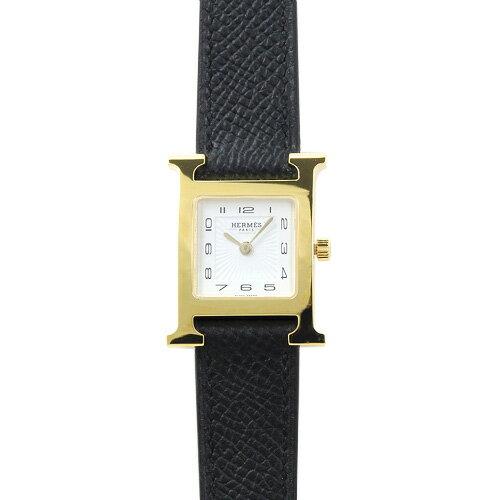 エルメス HERMES Hウォッチ PM レディース 036733WW00 (HH1.201.131/UNO) ホワイト/ブラックレザー 時計/ウォッチ