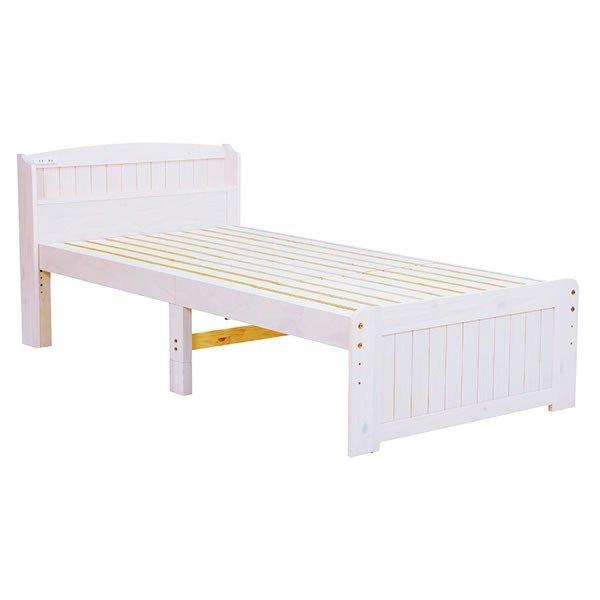 木製シングルベッド ヘッドボード付 床面高さ2段階 すのこ床板 ウォッシュホワイト色(木目のある白色)