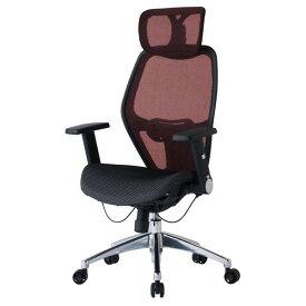 デスクチェア メッシュ張り肘付ヘッドレスト付高機能オフィスチェアー コイズミ JG78382 レッド色
