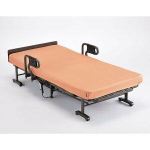 電動リクライニング折りたたみベッド/収納ベット 洗えるオレンジ色マットレスカバー付き シングル AX-BE635N 2モーター仕様《あす楽対応》