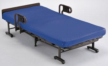 アテックス収納式リクライニングベッド(ダブルギア)AX-BG557洗えるブルー色マットレスカバー付きシングル