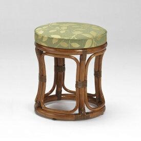 籐丸椅子 ラタンクッション付スツール 布張り アンティークブラウン色 アジアンテイスト