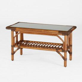 籐棚付センターテーブル ラタン90幅ガラステーブル アンティークブラウン色フレーム アジアンテイスト