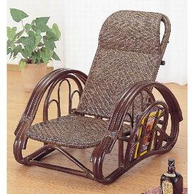 籐椅子 ラタン二ツ折寝椅子 リクライニングチェア ダークブラウン色 A114B