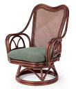籐椅子 ラタンハイバック回転チェア ダークブラウン色 張り生地4色対応