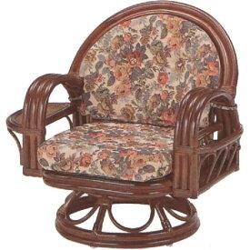 和風座いす 籐椅子 ラタンラウンドチェアーミドルタイプ回転式/座椅子 S332B ザイス 座いす