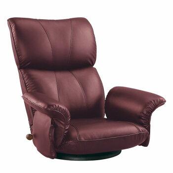 スーパーソフトレザー張り肘付きリクライニング回転座椅子匠(たくみ)YS-1396HRワインレッド色