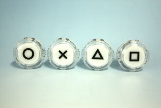 ハメ込み expression clear push buttons 30 mm print with (video game button size) 4 pieces 1 set