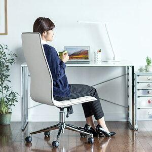 シンプルデザインチェアハイバックおしゃれ座面幅49cmスチール脚レザーチェアスタイリッシュロッキング椅子