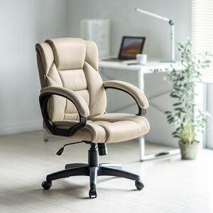 オフィスチェアレザーチェアパソコンチェアロッキングキャスター肘掛け付きPUレザーミドルバックプレジデントチェア社長椅子事務椅子デスクチェアワークチェアPCチェアOAチェアイス椅子いすチェアーブラックベージュ※お一人様5個まで