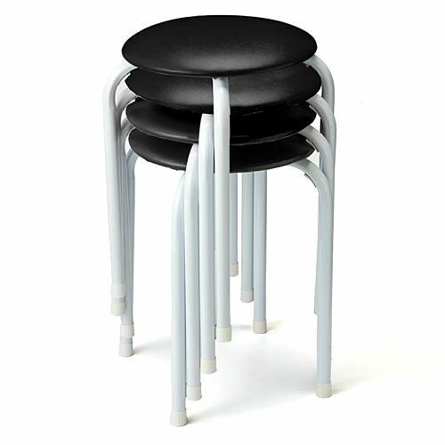 【まとめ割 4脚セット】丸椅子 積み重ねて収納可能 ブラック・ブルー・レッド オフィスチェア 椅子 [150-SNC0614]【サンワダイレクト限定品】【送料無料】