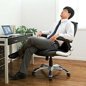 レザーチェアブラックアームレスト跳ね上げ式可動肘ロッキングプレジデントチェアオフィスチェア椅子[150-SNC116]【サンワダイレクト限定品】【送料無料】