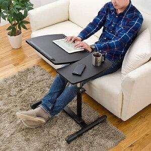 【送料無料】ノートパソコンスタンドサイドテーブルテーブル分割タイプキャスター付高さ&角度調節可能ベッドテーブル[100-DESK040]【サンワダイレクト限定品】
