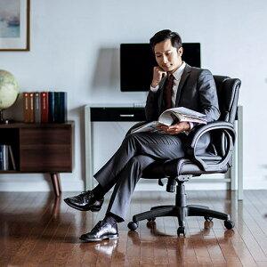 プレジデントチェアロッキングミドルバックPUレザーキャスター・肘掛け付きレザーチェアオフィスチェアパソコンチェアオフィスチェア社長椅子椅子