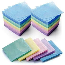 CDケース DVDケース 不織布ケース 2穴付 両面収納×500枚セット 5色ミックス インデックスカード付 収納ケース メディアケース 持ち運び