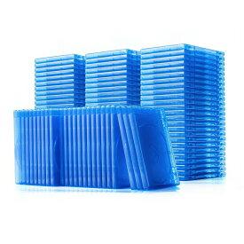 ブルーレイディスクケース 100枚セット CDケース DVDケース 標準サイズ Blu-ray・1枚収納 ブルー 収納ケース メディアケース Blu-ray・DVD・CD対応
