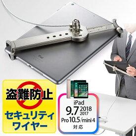 タブレット iPad セキュリティワイヤー (10.5インチ/9.7インチiPad Pro・9.7インチiPad(2018/2017)・mini 4対応・汎用タイプ・7インチ〜10インチ対応)シルバー