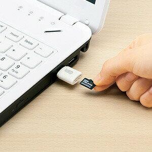 microSDカードリーダー携帯に便利なストラップホール付きマイクロSDカードリーダーライターUSBカードリーダーホワイト在庫処分超特価在庫一掃