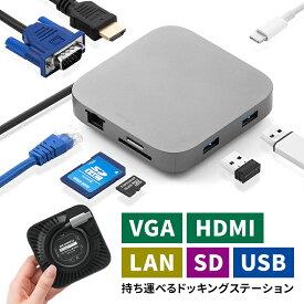 モバイルドッキングステーション 巻き取り USB Type-C PD100W対応 4K対応 8in1 HDMI VGA microSD&SDカード イーサネット 持ち運び