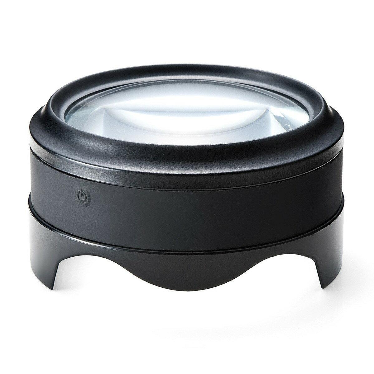 拡大鏡 ルーペ 5倍 電池不要・USB充電式 LEDライト付きで明るい 高級感あるおしゃれなデザイン 虫眼鏡 デスクルーペ 拡大率5倍[400-LPE013]【サンワダイレクト限定品】