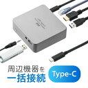 USB Type-Cドッキングステーション Type-C専用 USB PD対応 シルバー USBハブ HDMI出力 3.5mmステレオミニジャック ギ…