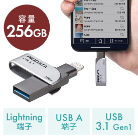 iPhone iPad USBメモリ 256GB USB3.2 Gen1(USB3.1/3.0) Lightning対応 MFi認証 スイング式