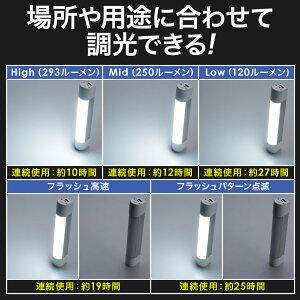 USB充電式LEDハンディライト電池不要マグネット付き調光3段階点滅懐中電灯モバイルバッテリー5200mAh非常灯
