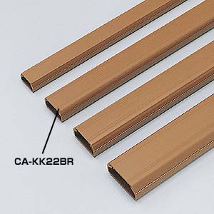 ケーブルモール 配線カバー 角型 3本収納可能 1m ブラウン 配線の整理に最適なケーブルカバー おしゃれ [CA-KK22BR]【サンワサプライ】