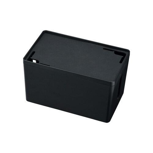 ケーブル&タップ収納ボックス Sサイズ・ブラック 配線カバー 配線 収納 隠し コード収納 充電ステーション おしゃれ [CB-BOXP1BKN2]