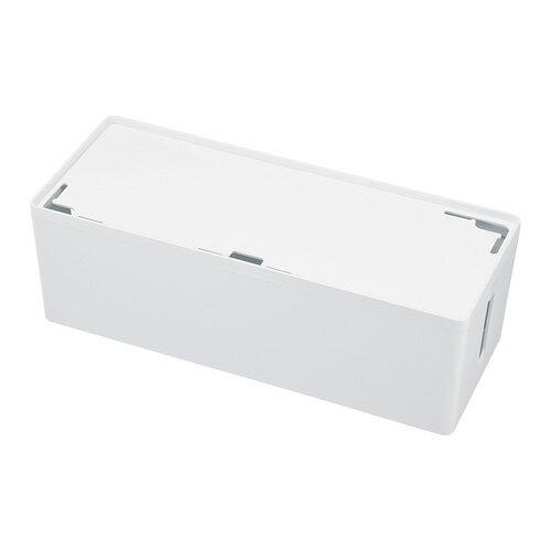 ケーブル&タップ収納ボックス Lサイズ ホワイト 配線カバー 配線 収納 隠し コード収納 充電ステーション おしゃれ[CB-BOXP3WN2] 【送料無料】
