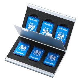 メモリーカードケース SDカードケース 最大6枚収納 アルミ製 両面収納 マイクロSDカードケース 収納