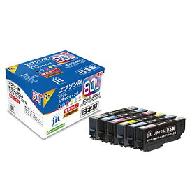 エプソン IC6CL80L対応(6色パック) JITリサイクルインク 日本製 国産 EPSON とうもろこし 再生インク