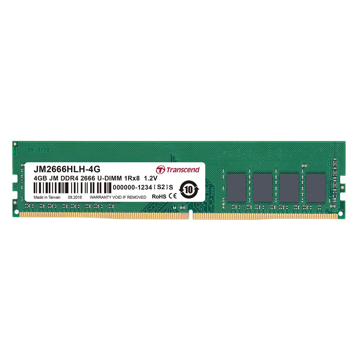 【4月25日値下げしました】Transcend 増設メモリー 4GB デスクトップ用 DDR4-2400 PC4-19200 U-DIMM PCメモリ メモリーモジュール デスクトップパソコン用[JM2400HLH-4G]【ネコポス専用】【送料無料】