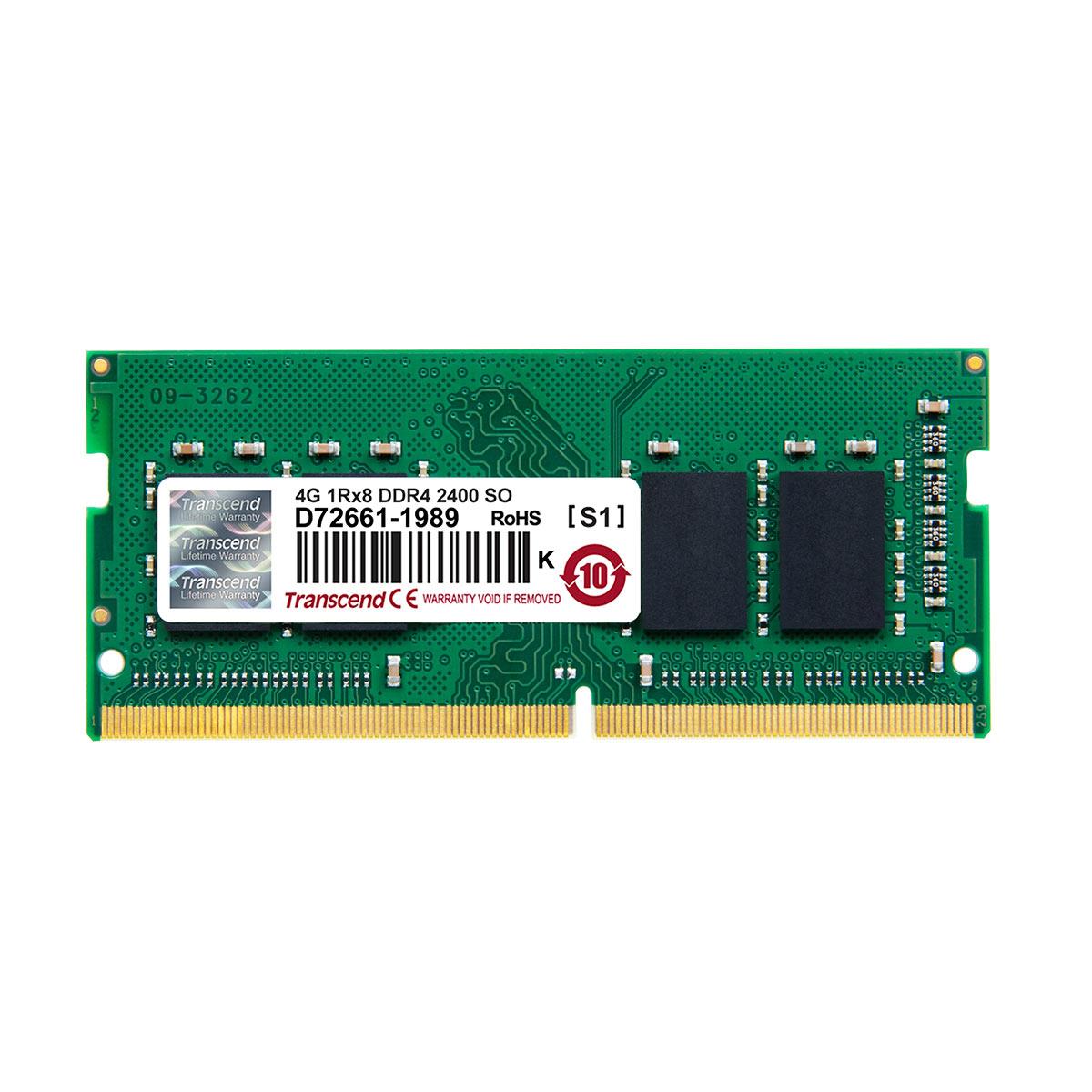【4月25日値下げしました】Transcend 増設メモリー 4GB ノートPC用 DDR4-2400 PC4-19200 SO-DIMM PCメモリ メモリーモジュール ノートパソコン用[JM2400HSH-4G]【ネコポス専用】【送料無料】
