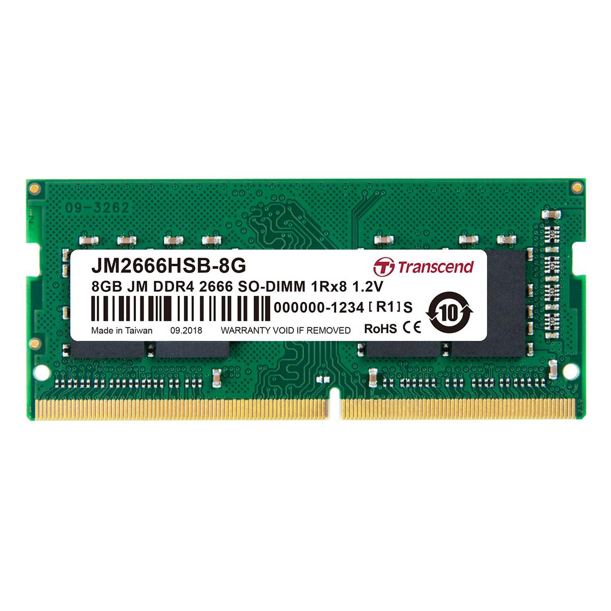 【4月25日値下げしました】Transcend 増設メモリー 8GB ノートPC用 DDR4-2666 PC4-21300 SO-DIMM PCメモリ メモリーモジュール ノートパソコン用[JM2666HSB-8G]【ネコポス専用】【送料無料】